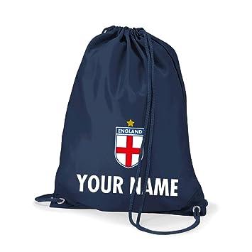 89a7e1f4cb74 Print Me A Shirt Kids Personalised England Football School Gym Kit Bag  (French Navy