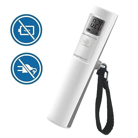 Aigostar Feather 30LDD – Báscula digital para equipaje. Sin baterías, pantalla LCD, encendido