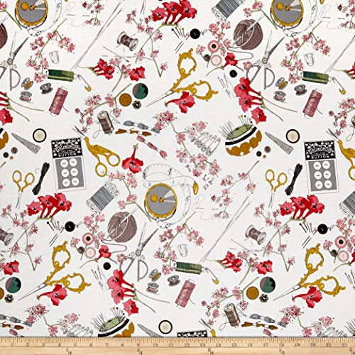 Henry Alexander Fabric (Alexander Henry A Ghastlie Notion Fabric, Natural, Fabric By The Yard)