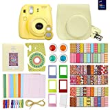 FujiFilm Instax Mini 8 Camera Yellow + MiniMate Accessory Bundle. Kit includes: Case, Frames, 64 page Photo Album, Selfie Lens, Colored Filters and more