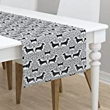 Table Runner - Dog Puppy Dachshund Doxie Black and White Damask Animal by Robyriker - Cotton Sateen Table Runner 16 x 90