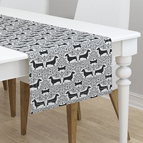 Table Runner - Dog Puppy Dachshund Doxie Black and White Damask Animal by Robyriker - Cotton Sateen Table Runner 16 x 90 by Roostery