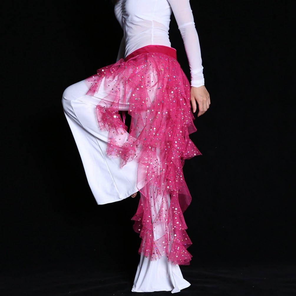 YuanDian Donna Cinture Per Danza Del Ventre Pareo Sciarpa Paillettes Lucenti Prospettiva Filato Netto Tribale Arabian Oriental Belly Dance Catena Della Vita Gonna