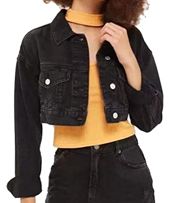 320d994ac1bfee Fensajomon Womens Casual Button Down Crop Top Washed Jean Jackets Black S