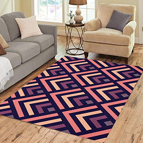 Pinbeam Area Rug Abstract Geometric Pattern Made of Pastel Purple Home Decor Floor Rug 3' x 5' - Geometric Purple Rug