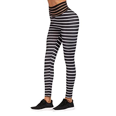 7a30ab913448ba Striped Yoga Leggings, Women's High Waist Workout Pants Sports Gym Running Skinny  Pants by E