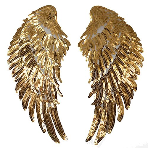 1Pair Fashion Gold/Silver Angel Wings Sequins Patches for Clothing Iron-on Embroidered Patch Motif Applique DIY Xmas Accessories(5.5X12inch) (Gold) by FEEPOP