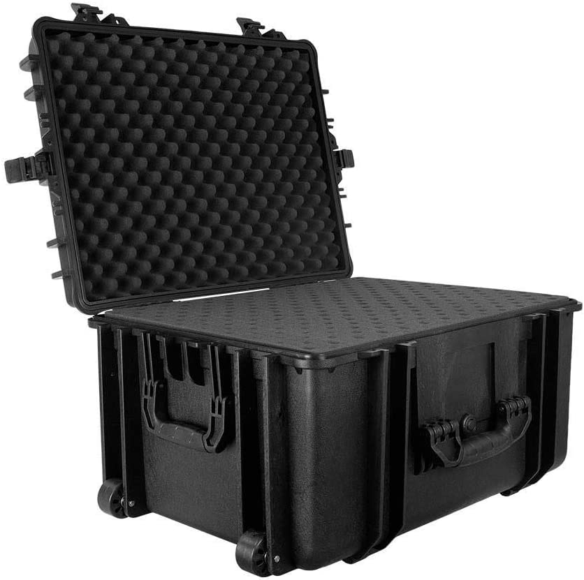 Monoprice Weatherproof//Shockproof Hard Case 19 x 16 x 8 Black IP67 Level dust and Water Protection up to 1 Meter Depth with Customizable Foam