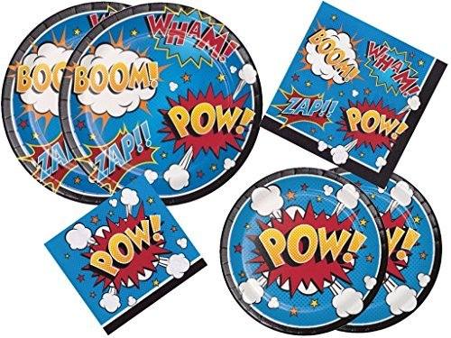 (Creative Converting Inc.., Superhero Slogans POW Birthday Party Deluxe Kit Includes Dinner Plates, Dessert Plates, Lunch Napkins and Beverage Napkins for 16 Guests)