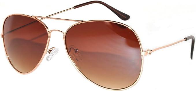 gold metal frame brown lens Premium quality Fashion aviator Sunglasses white