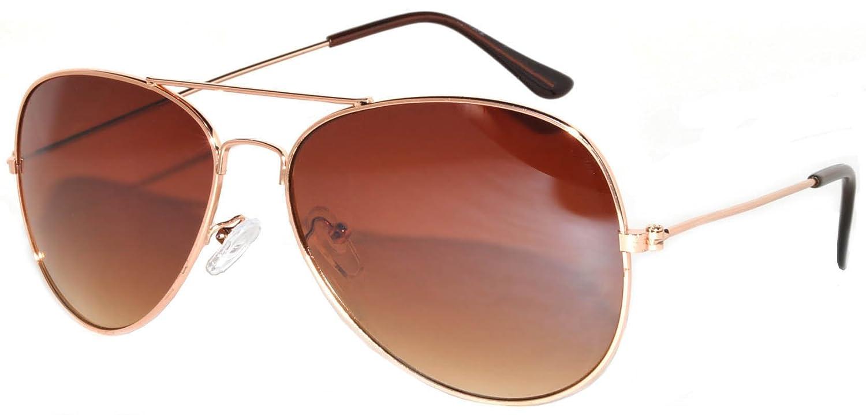34c5ca80ed4 Amazon.com  Aviator Sunglasses Gold Metal Frame with Brown Lens Stylish  Fashion  Clothing