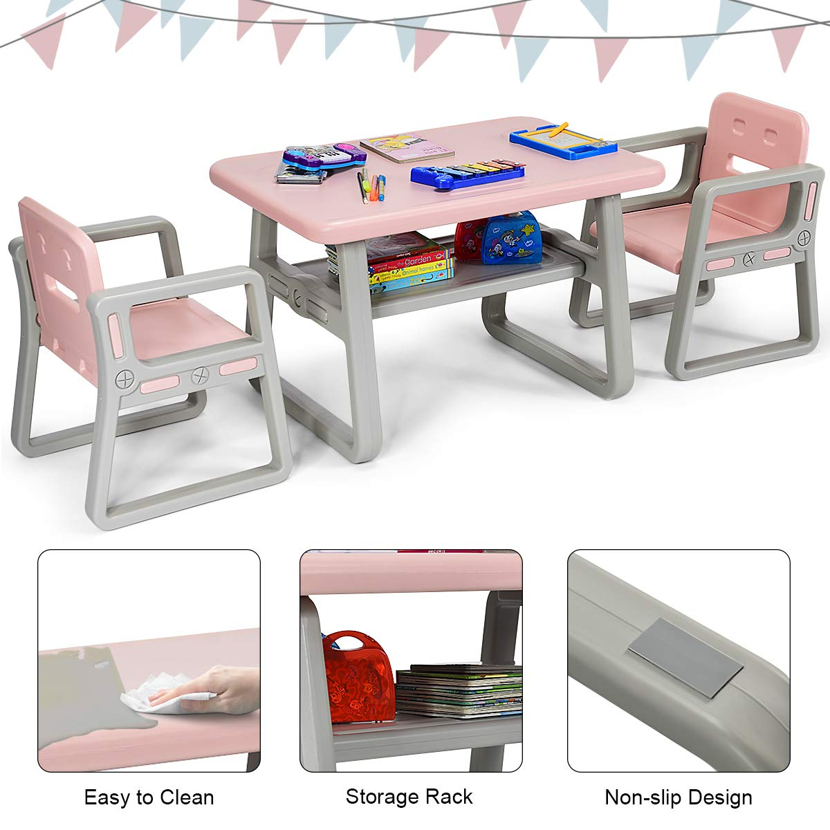Costzon 3 Piece Kids Table and 2 Chairs Set, Learning Activity Play Table, Baby Dining Table, Children Desk Chair for 1-3 Years, Kids Furniture Set (Pink) by Costzon (Image #4)