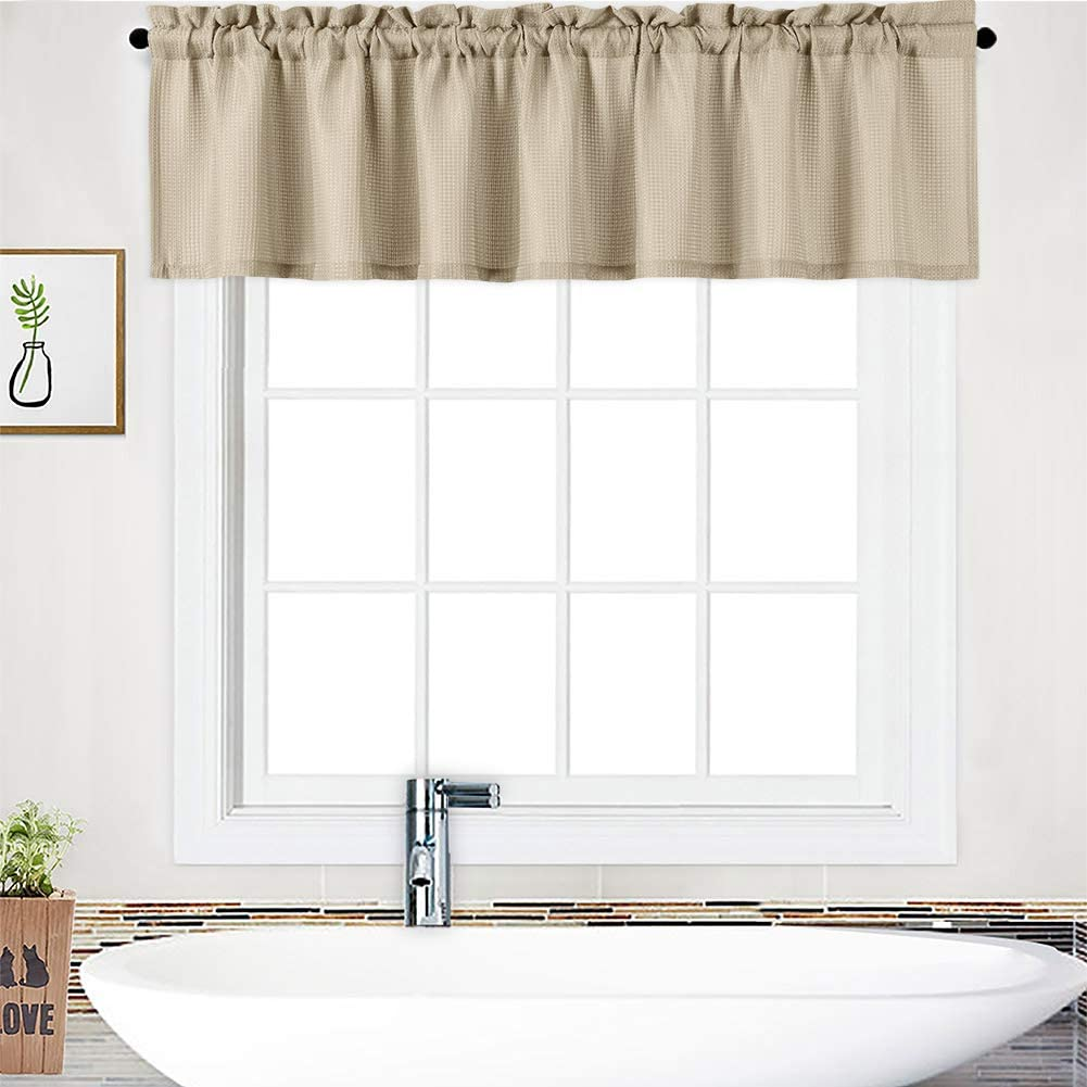 "NANAN Curtain Valance,Waffle Weave Water-Proof Window Valance for Bathroom,Tailored Kitchen Valance Curtain Cafe Curtains - 60"" x 15"", Plaza Taupe, One Panel"