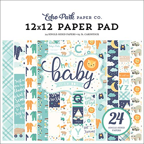 Echo Park Paper Company Hello Baby Boy 12x12 Pad Paper Navy, Yellow, Teal, Orange -