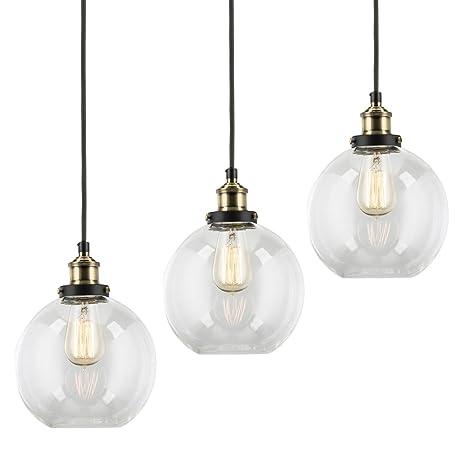 new concept d9779 64731 3-Pack Modern Industrial Vintage Glass Globe Pendant Light ...