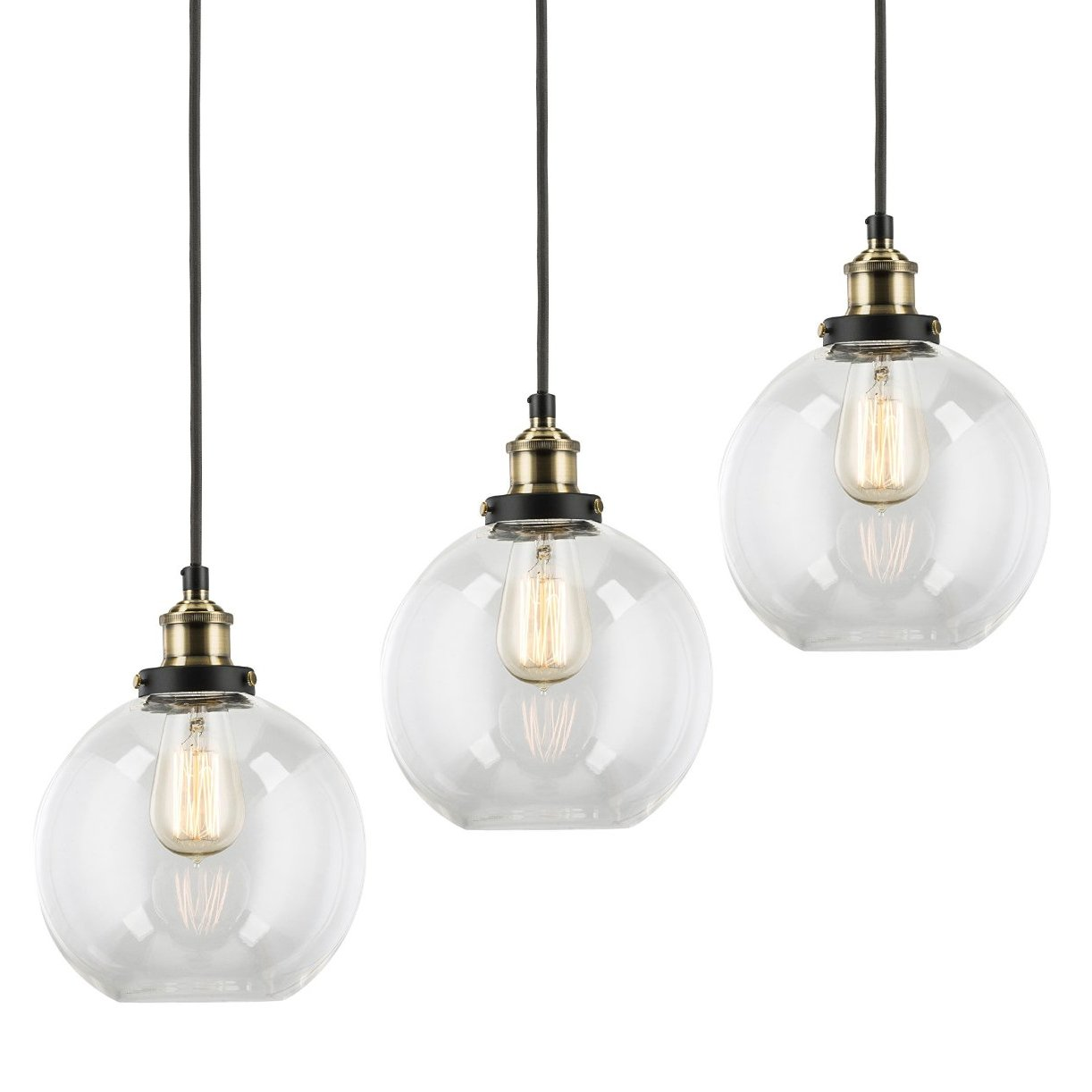 3-Pack Modern Industrial Vintage Glass Globe Pendant Light - MKLOT Minimalist Eco-Power Edison Style 7.87'' Wide Hanging Chandelier Ceiling Lighting Mounted Fixture with Clear Glass