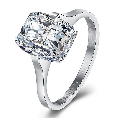Amor Eterno Mujeres Boda Compromiso Anillos Acero Inoxidable Cz Diamantes Marcas Solitarias Princesa Corte Promesa Aniversario