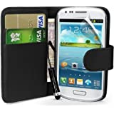 Samsung Galaxy S3 Mini i8190 GT-i8190N Leather Flip Case Wallet Cover + Screen Protector + Stylus (Black)