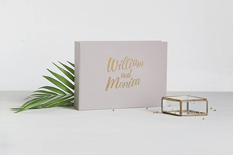 Cream Polaroid Guest Book Photo Album with Gold Lettering