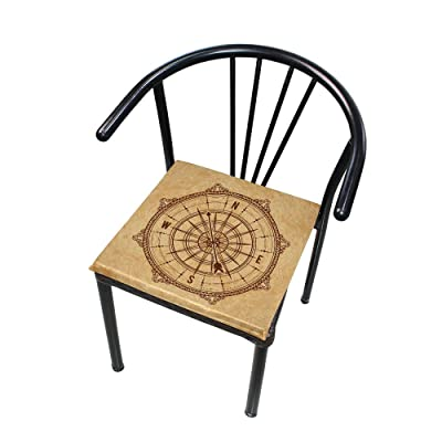 Bardic FICOO Home Patio Chair Cushion Vintage Nautical Compass Square Cushion Non-Slip Memory Foam Outdoor Seat Cushion, 16x16 Inch: Home & Kitchen