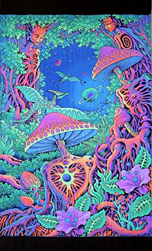 (Space Tribe Psychedelic Tapestry 'PSY Shroom' - Hand-Painted and Silkscreen Batik Wall-Hanging - UV Active Wall-Hanging -Trippy Wall Art - Black Light Active Trippy Tapestry - Fantasy Tapestry)