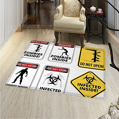 Zombie Area Rug Carpet Warning Signs for Evil Creatures Paranormal Construction Design Do Not Open Artwork Living Dining Room Bedroom Hallway Office Carpet 36''x48'' Multicolor by Anhounine
