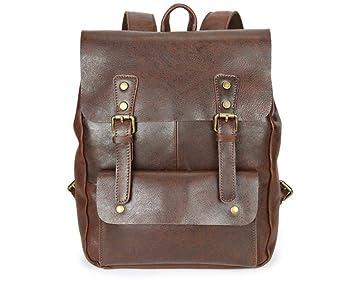 Circlefly Mochila de cuero para hombre de estilo británico retro Colegio viento estudiante mochila bolso del ordenador portátil: Amazon.es: Hogar