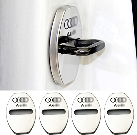 Image of YYD 4PCS Cubierta de Bloqueo de Puerta de Acero Inoxidable Audi - Adecuada para Audi A3 A4L A6L Q3 Q5 Cubierta de Cerradura de Puerta Cerradura de Puerta Cubierta de Acero Inoxidable óxido,Plata