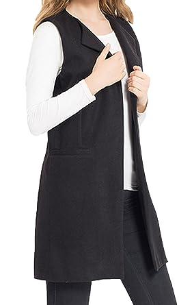 JOKHOO Women s Wool Blend Sleeveless Long Vest Jacket Longline Slim  Waistcoat be9f8ff9e8