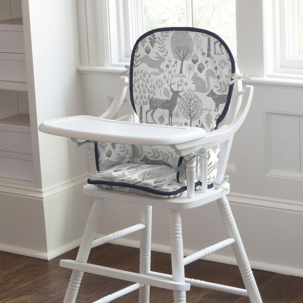 Carousel Designs Navy and Gray Woodland High Chair Pad