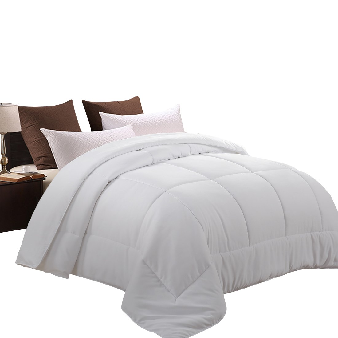 MEROUS Queen Comforter Duvet Insert White- Soft Goose Down Alternative Quilted Warm Comforter,Hypoallergenic and Lightweight Luxury Hotel Collection by