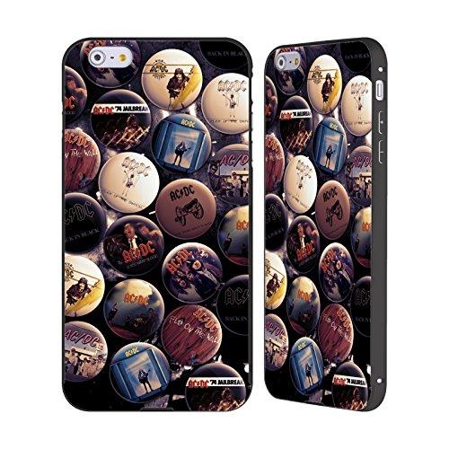 Officiel AC/DC ACDC Album Épingles De Bouton Noir Étui Coque Aluminium Bumper Slider pour Apple iPhone 6 Plus / 6s Plus