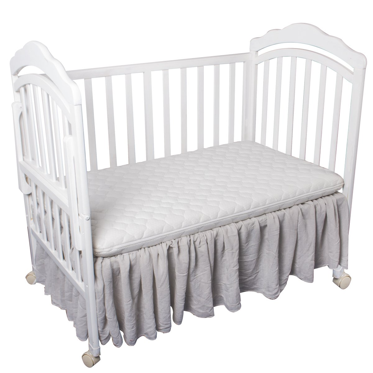 Grey Baby Muslin Crib Skirt CO-AVE Dust Ruffle Crib Bed Skirt Cotton for Baby Boys and Baby Girls
