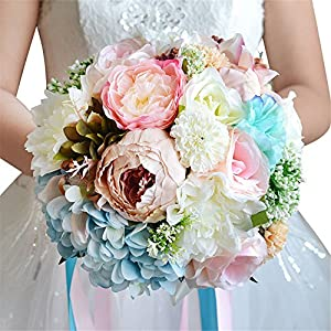 Artificial Rose Peony Hydrangea Wedding Bouquet Bridemaisde Hold Flowers 77