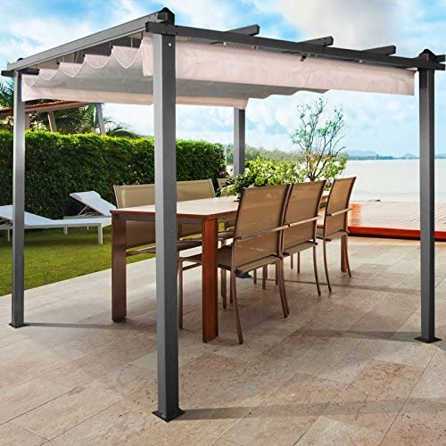 IDMarket - Pérgola de techo retráctil - Color crudo - 4 patas - 3 x 3 m: Amazon.es: Jardín