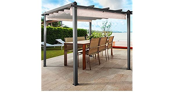 IDMarket - Pérgola de techo retráctil - Color crudo - 4 patas - 3 x 3 m: Amazon.es: Jardín