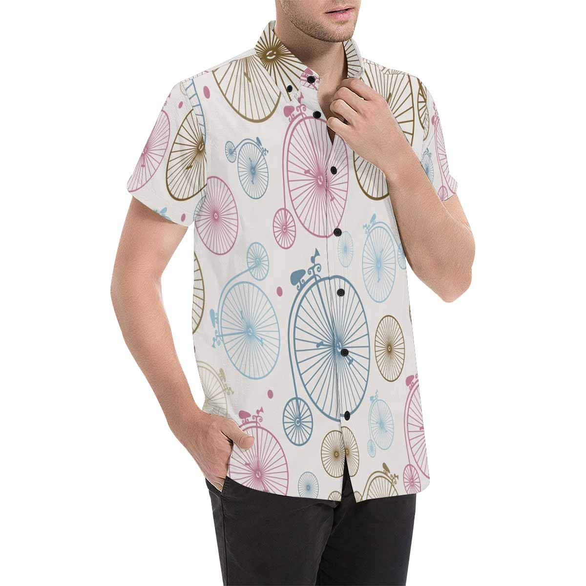 InterestPrint Short-Sleeve Retro Vintage Bicycle Hipster Shirt for Men S-5XL