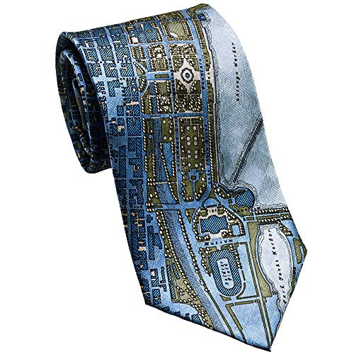 Josh Bach Mens CIVITAS Map of Chicago Silk Necktie Blue, Made in - Silk Chicago Cubs Tie