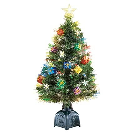 Collections Etc Rotating Tabletop Christmas Tree with Fiber Optic Lights,  Presents Ornamentation, 36 inches - Amazon.com: Collections Etc Rotating Tabletop Christmas Tree With