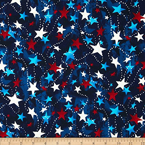 Patriotic Cotton Fabric Stars (Made in the USA Stars Red White Blue Fabric By The)