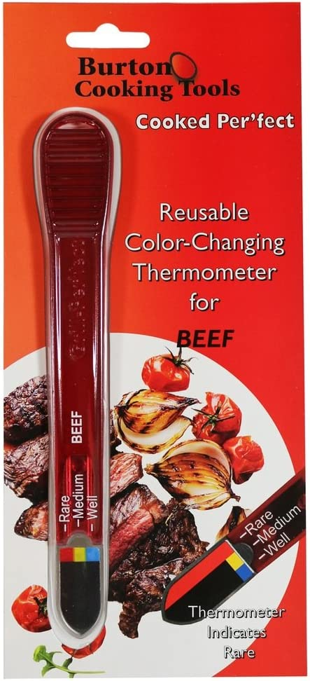 Burton Cooked-Perfect Reusable Color-Changing Meat Thermometer for Beef, 1 EA, Silver