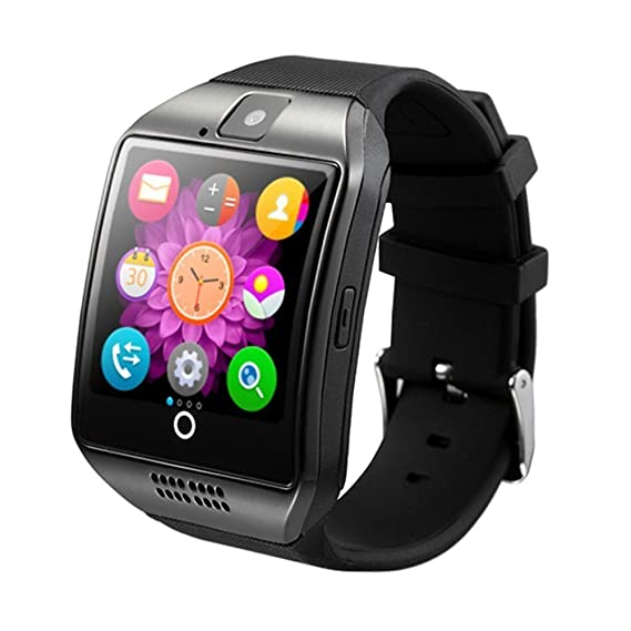 Smart Watch, Bluetooth Fitness Smartwatch with Camera Pedometer Anti lost for Android smartphones and iPhone (Black-Q18)
