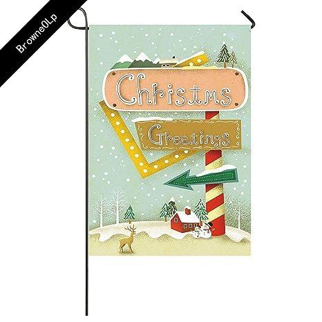 Amazon com : BrowneOLp Garden Flag Christmas Greetings