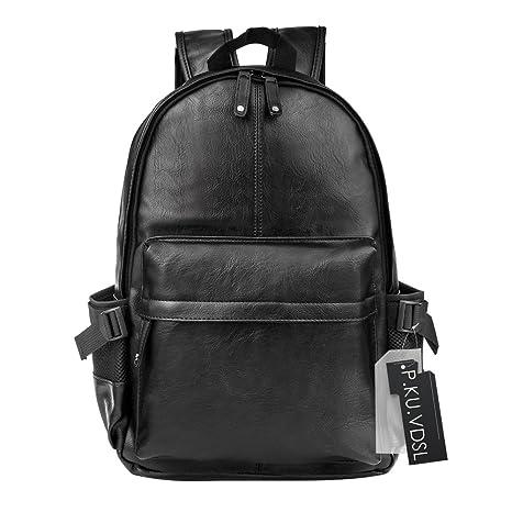 VDSL PU Leather Backpack, Vintage Leather Laptop Computer Backpack, 14 Inch  Notebook Rucksack, Travel Daypack, School College Bookbags, Unisex Shoulder  ... 3d3210ef8a