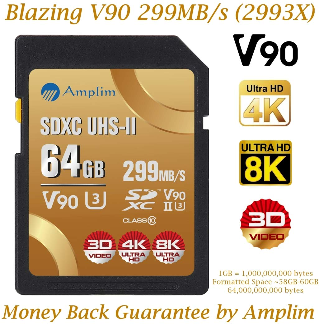 Amplim 64GB UHS-II SDXC SD V90 Card - Blazing Fast 299MB/S (1993X) Class 10 U3 Ultra High Speed UHSII Extreme Pro SD XC Memory Card. Professional 4K 8K Video. 64 GB / 64G TF Flash