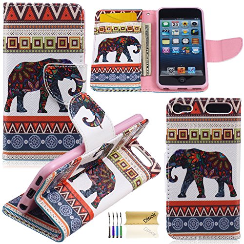 iPod Touch 5 6 Case, Dteck(TM) Fashion Colorful Painting Premium Leather Flip Stand [Card Slot/Money Holder] Wallet Case Protective Cover for Apple iPod Touch 5th 6th Generation (Baby Elephant) - Player Protective Cover