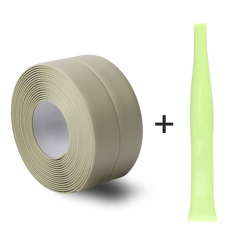 Silicone Caulk Strip,PVC Strong Self Adhesive Tub Sink Wall Sealing Caulk tape 1-1/'' x11 Green
