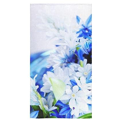 Elegante y personalizada suave y cómodo hermoso patrón flores toalla de baño (16 x 28