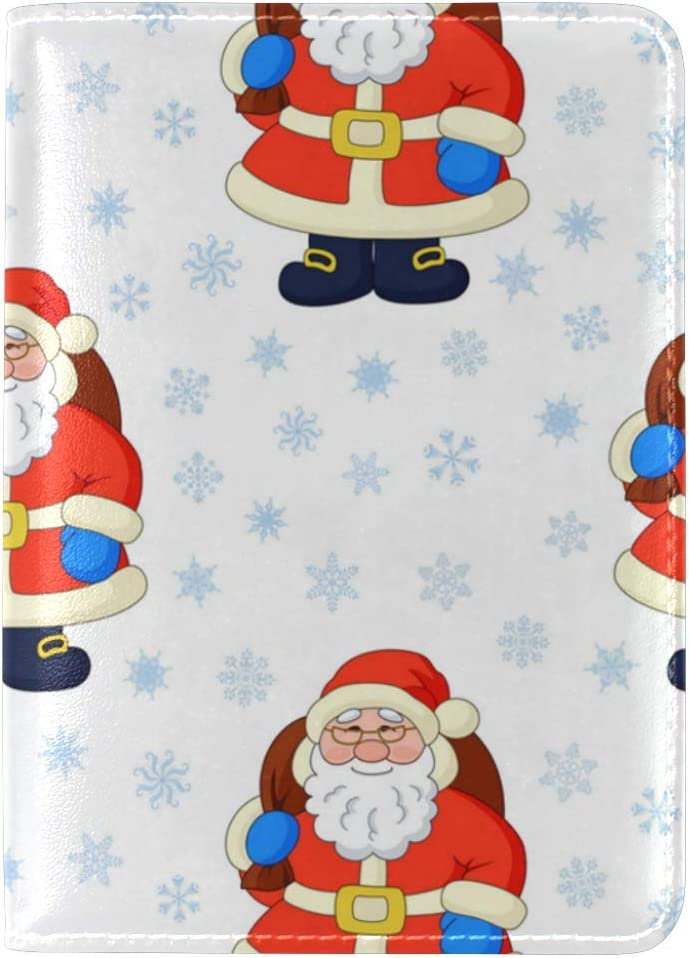 Kindly Calm Santa Claus Leather Passport Wallet for Passport Holder for Safe Trip durable Easy to Carry
