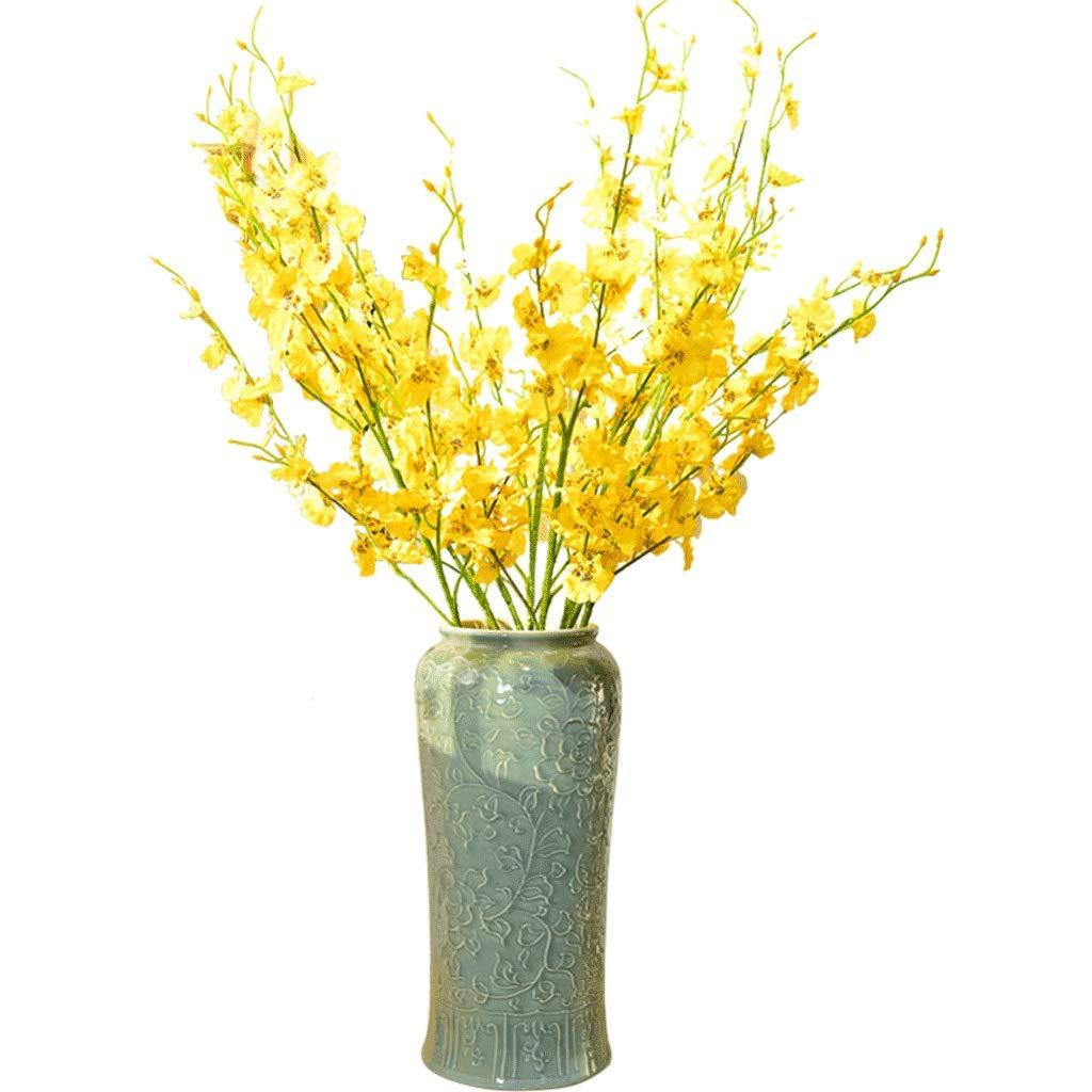 大気手作りのセラミック床大花瓶リビングルームホールモデルルーム装飾シミュレーション花セット LCSHAN (Color : Ceramic-Blue, Size : 36cm*15.8cm*13cm) B07T3HMSDC Ceramic-Blue 36cm*15.8cm*13cm